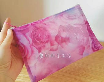 zipper makeup bag - coin purse  - top-quality fabric from Japan