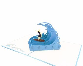 Guy Surfing Card, Guy Surfer card, 3D surfing card, card for him, summer sport card, birthday card, paper surfer, 3D surfer