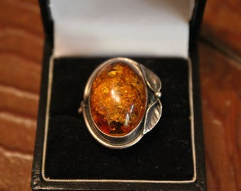 Antique Chinese Sterling Silver Amber Ring