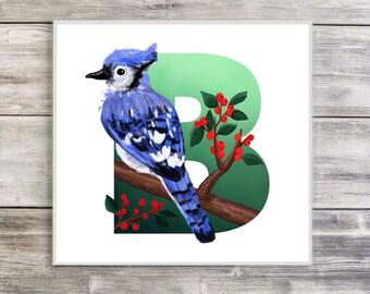 B is for Bluejay, Bluejay Illustration, ABC Birds, Alphabet, Letters, Bird Illustration, Nursery Art