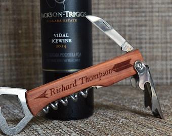 Groomsmen Bottle Opener, Personalized Corkscrew, Engraved Wine Opener, Wedding Party Gifts, Custom Bottle Opener, Monogrammed Corkscrew. BO1