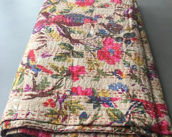 Pink Bird of Paradise Handmade Cotton Indian Kantha Stitched Blanket/Throw