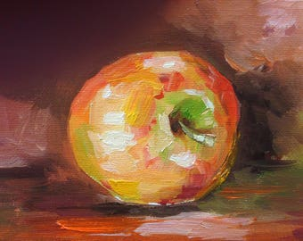 Apple Original Oil Painting, Still life Kitchen Decor