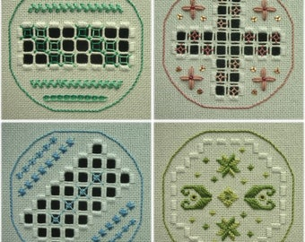 Hardanger embroidery - Round In Circles (set of 12 card-sized designs)