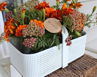 Repurposed Vintage Hotbasket Centerpiece - Painted White Metal Wicker Basket - Round Vases Included