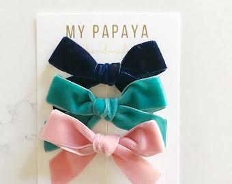 Velvet bow | Velvet baby headband | velvet bow headband | Velvet bow clip | hand-tied bow | Pick your colors