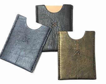 Leather Card Sleeve, Card Case, Wallet Sleeve, Metallic Silver, Metallic Gold, Dark Chocolate Black