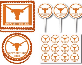 Texas Longhorns Birthday Party Edible Cake Cookie Toppers or Plastic Cupcake Pick Stickers Decoration Baking Supply