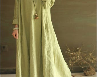 Cotton and hemp frock dresses are loose-fitting and bulky