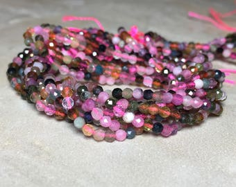 2mm Genuine Faceted Multi color Tourmaline Gemstone Round 2mm Loose Beads 15.5 inch Full Strand, Tourmaline Beads, Natural Tourmaline Beads