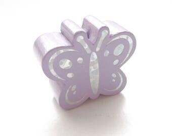 Butterfly Glitter - purple wooden bead