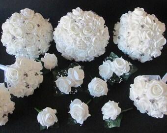 WEDDING FLOWERS, Brooch Bouquet Wedding Package, Bride Bouquet, Bridesmaids Bouquets, Flower Girls, Buttonholes, Corsages