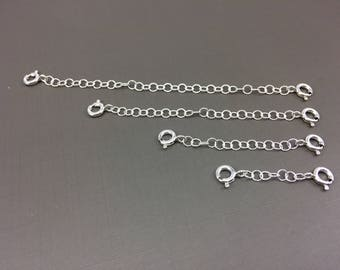 Sterling silver Chain Extender, Silver  Spring Clasp/ clasp for  necklace bracelet anklet / safety chain/ double catch extender,