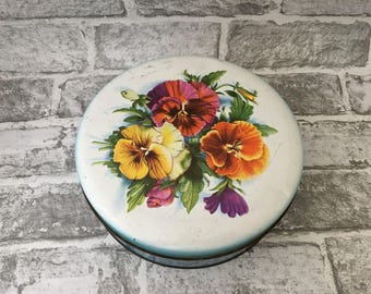 Vintage William Crawford And Soms Pansy Tin, Round Pansy Tin Purple, Orange and Yellow Pansy Motif tin