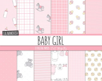 Baby Girl Digital Paper Pack. Pink and Grey Baby Patterns with cute Backgrounds. Baby Digital Scrapbook - Its a girl - Teddy, bottles..