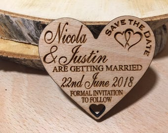 Heart Shaped Save the Date Fridge Magnet with Free Envelopes