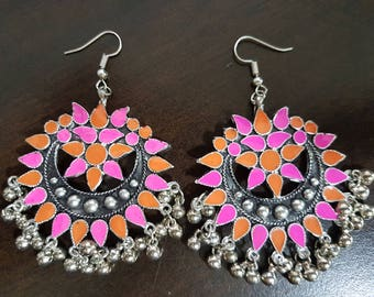 Pink and Mustard (shorter) Enamel Silver oxidised long chandelier chandbalis party festive wear
