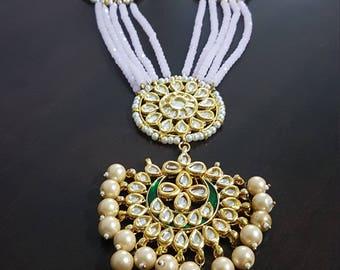 Light pink multi-strand beaded layer long green kundan bridal / non-bridal necklace haar