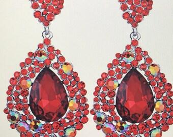 AB Red Crystal Teardrop  Chandelier Earrings  Pierced