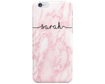 Personalised Name Pink Marble Phone Case Cover for Apple iPhone 5 6 6s 7 8 Plus & Samsung Galaxy Customized Monogram