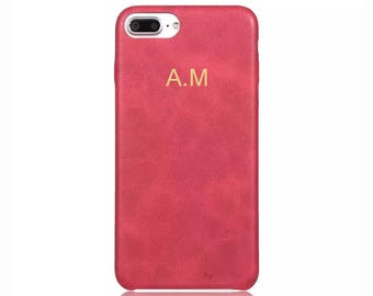 Personalised Red Vintage PU Leather Phone Case for Apple iPhone 5 6 6s 7 8 10 X Plus Embossed Name initials Customized Cover Monogram