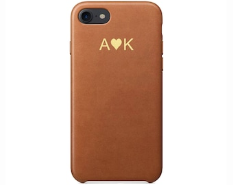 Personalised initials Tan Brown PU Leather Love Heart Phone Case for Apple iPhone 5 6 6s 7 8 10 X Plus Embossed Cover Customized Monogram