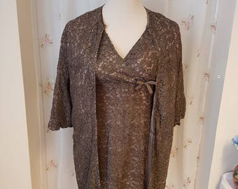 1960's Chocolate Lace Two Piece Suit