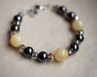 Hematite and Yellow Jade Bracelet