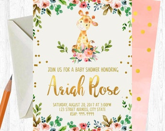 Giraffe Baby Shower Invitation Girl Baby Shower Invitation Giraffe Safari Baby Shower Invitation Jungle Baby Shower Invite Giraffe Shower