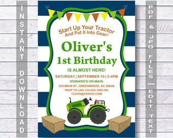 Tractor Invitation, blue, FaBoy Birthday rm Invitation, Tractor Birthday Invitation, Tractor Party, Tractor Birthday, Farm Invitation,  Boy