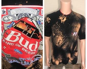 Custom Vintage 90s bud king of beers racing shirt // bill elliot nascar racing shirt // adult size large // front pocket // bleached tee
