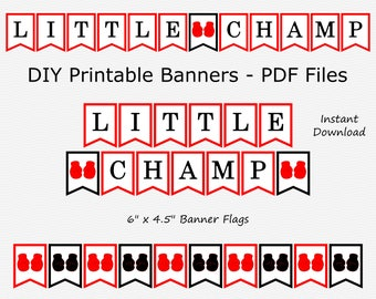 Sale Little Champ Banner - Red & Black - Boxing Glove - Boy Party - Baby Shower - DIY Printable - INSTANT DOWNLOAD