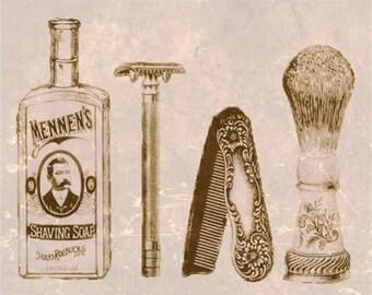 Vintage Shave,Wall Decor, Barber, Shaving Tools, Custom, Art Print ,