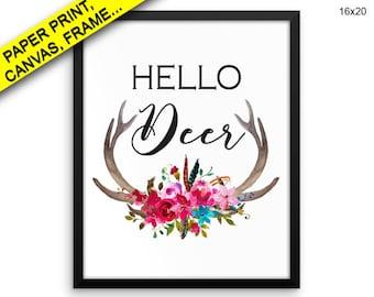 Hello Deer Canvas Art Hello Deer Printed Hello Deer Home Art Hello Deer Home Print Hello Deer Framed Art Hello Deer Deer Printed Antlers