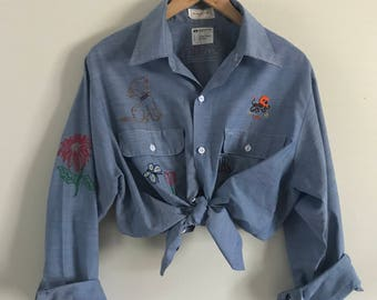 Vintage 70's Chambray Big Mac JCPenney Embroidery Button Down Shirt