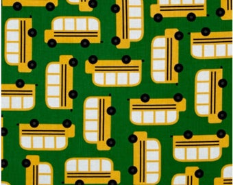 Back to School 2 Bus Cotton Fabric  -  Robert Kaufman Fabrics - Ann Kelle Designs - Kids Fabric - Quilting