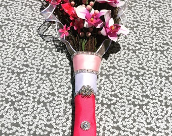 Pink and Blush Bloom Broom 38'  Long Handmade Wedding Jumping Bling Broom with  Crystal Gem Flower and Rhinestone Details