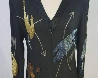 Vintage Beaded Mini Dress/ Top/ Tunic. Pop Art/ Glamour