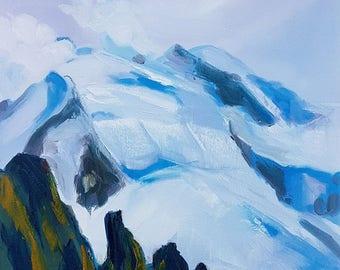Mont Blanc from Aiguille Du Midi. Mont Blanc series. size 40 by 30cm