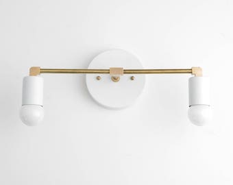 White Vanity Light   Brass Bathroom Fixture   Vanity Lighting   Vanity  Sconces   Mid Century