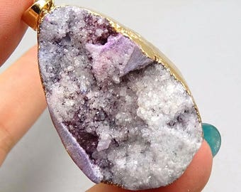 Druzy Agate Drop, Purple Agate Druzy Quartz Geode Stone, Sliced Agate Pendant, Rough Agate Pendant, 40mm, USA Seller, 1 pc
