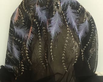 Lavender Embroidered Feathers and Sequins on Black Netting - Sold by the Yard