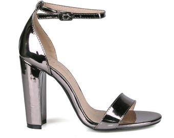 Mark and Maddux Hazel-01 Chunky Heel Women's High Heel Sandals in Pewter