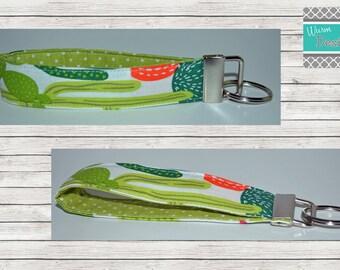 Cactus  Keychain, Key Fob, Wristlet Keychain, Wristlet Key Fob
