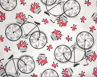 Bicycles, Vintage Bicycle, Bike with Flowers, Velo Fleurs by Timeless Treasures