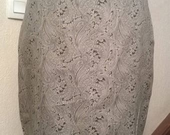 Printed cotton and lace pencil skirt
