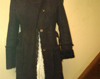 Suede and faux black fur coat