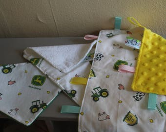 Bundle Package - Bib - Burp Rag - Tag-E - Baby Blanket