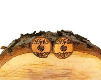 """Soul slices """"life tree spiral"""" wooden earrings 13-20mm"""