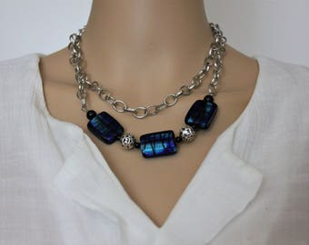 Blue glass beads with a double silver chain